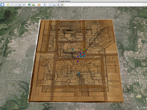 Archival map of City of Edmonton, 1933, georeferenced and overlaid into Google Earth imagery